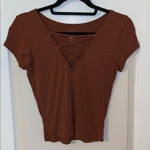 Burnt orange, lace up shirt